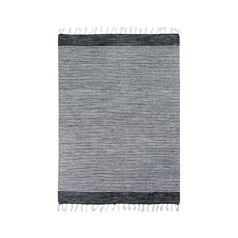 Mon Beau Tapis TERRA COTTON BANDES - Tapis 100% coton bandes noir-gris-blanc 120x170