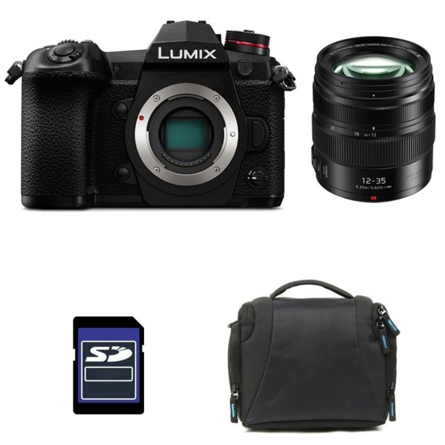 Panasonic - PACK PANASONIC LUMIX G9 Noir + 12-35 II + Sac et Carte SD 4 Go - Pack appareil photo