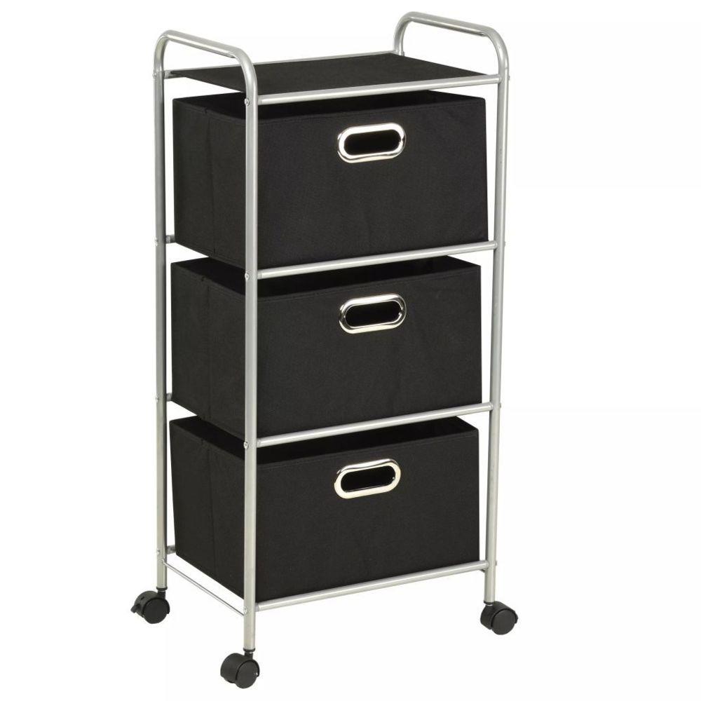 Vidaxl Unité à étagères avec 3 boîtes de rangement Acier et tissu | Noir - Rangement et organisation - Produits ménagers | Noir