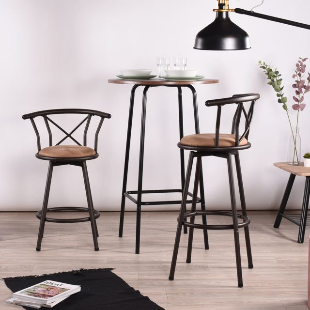 Easy Meuble - Lot de 2 tabourets de bar vintages bruns bas - Mobilier