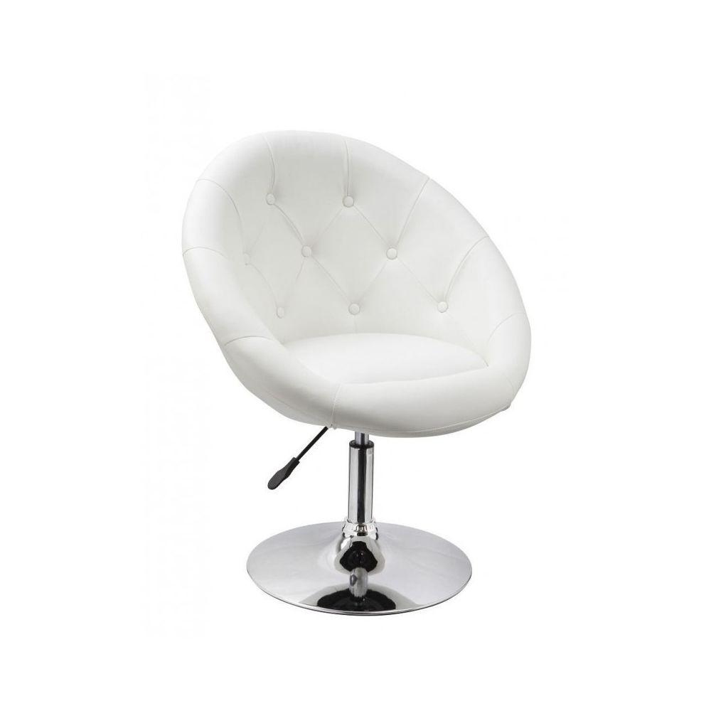 Decoshop26 Fauteuil oeuf capitonné design cuir PU chaise bureau blanc FAL09001