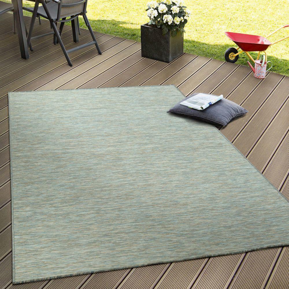 Paco-Home Tapis Extérieur Balcon Terrasse Gris Rose Vert Couleurs Pastel Tissage À Plat