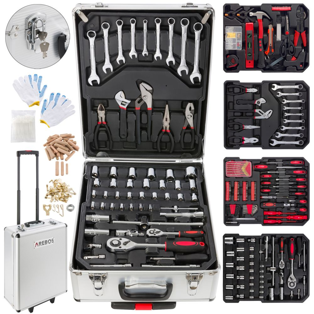 Arebos Valise à outils 1005 pièces Mallette à outils Coffret à outils Set Boîte