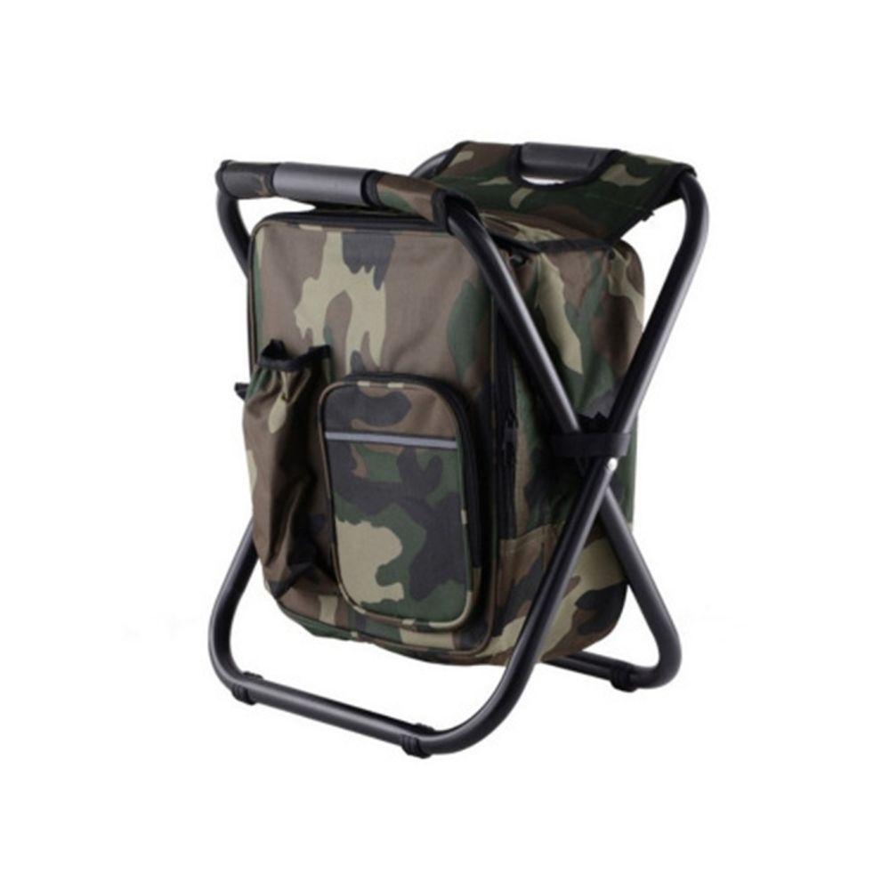 Wewoo Chaise de camping pliante portable de plein air de plage de pêche en acier inoxydable de avec sac de glace camouflage