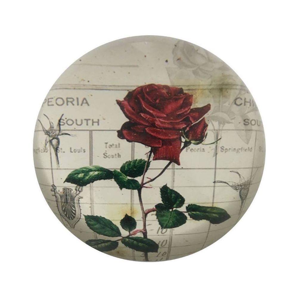 L'Originale Deco   Presse Papier Sulfure Rose en Verre Motif Fleur ...