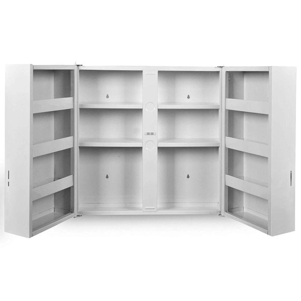 Helloshop26 Armoire à pharmacie murale 53 x 53 cm 2 portes serrure blanc meuble à pharmacie armoire médicaments, salle de bains 2001
