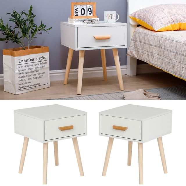 Jeobest - Lot de 2 Table de chevet,table d'appoint table basse de lit - 40 x 40 x 50 cm - Blanc - avec tiroir coulissant - Chevet