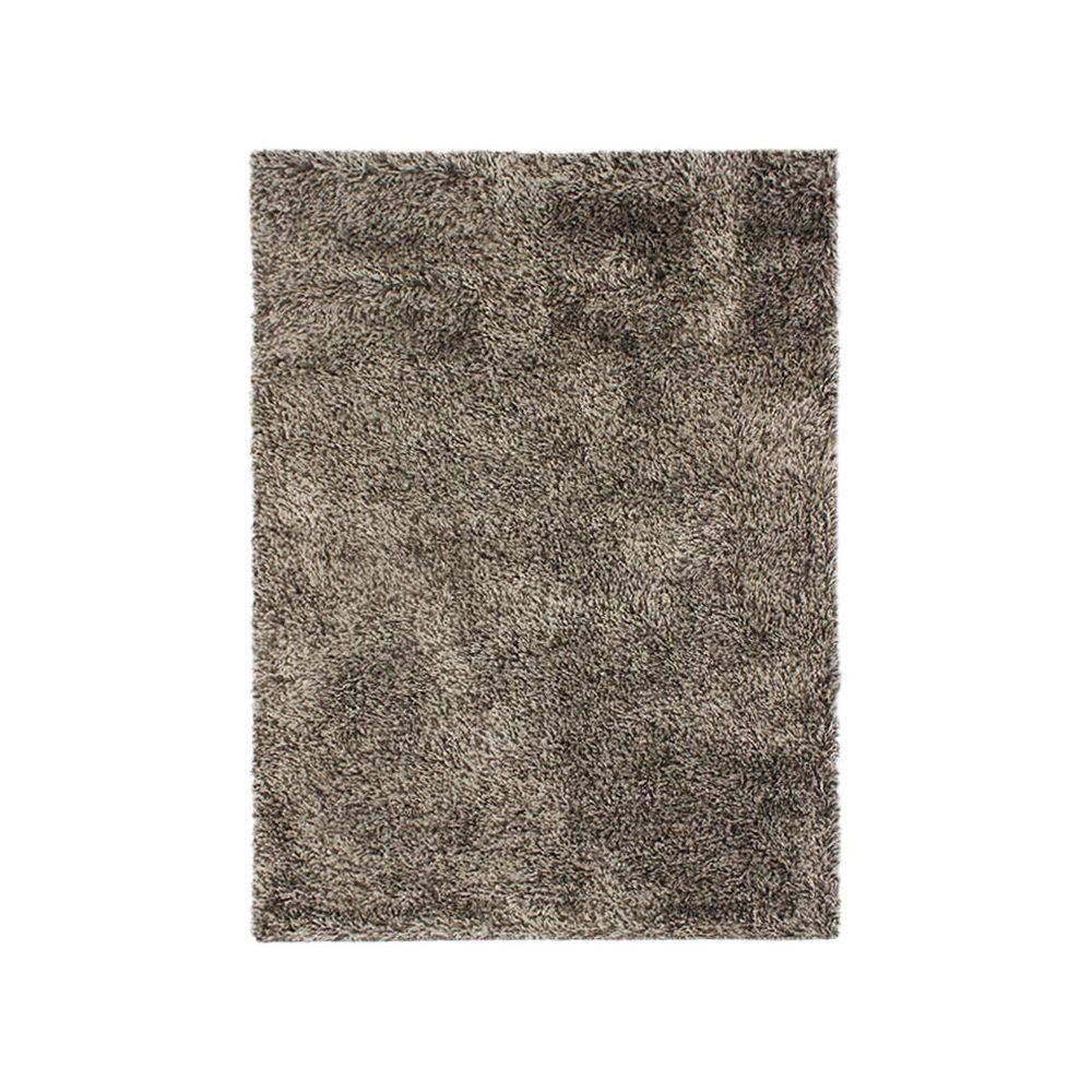 Mon Beau Tapis VALENCIA - Tapis à poils longs bi-colore marron et blanc 160x230