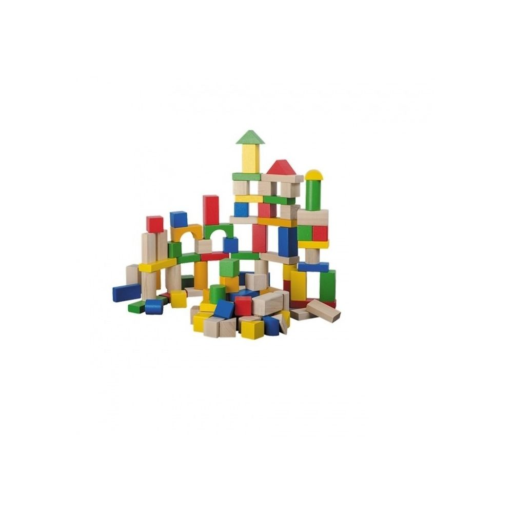 Sans Marque Cubes de construction en bois lot de 100 pièces