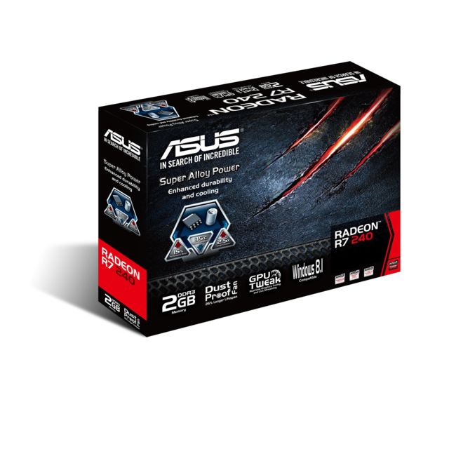 Asus - ASUS Asus Radeon R7240-2GD3-L 2GB Scheda Video, Nero-Rosso - Carte Graphique AMD