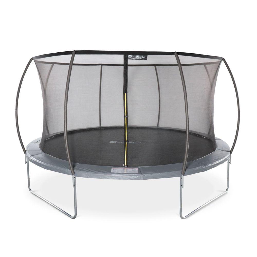 Alice'S Garden Trampoline rond Ø 430cm gris avec filet de protection intérieur - Venus Inner trampoline de jardin 4,30m 430 cm