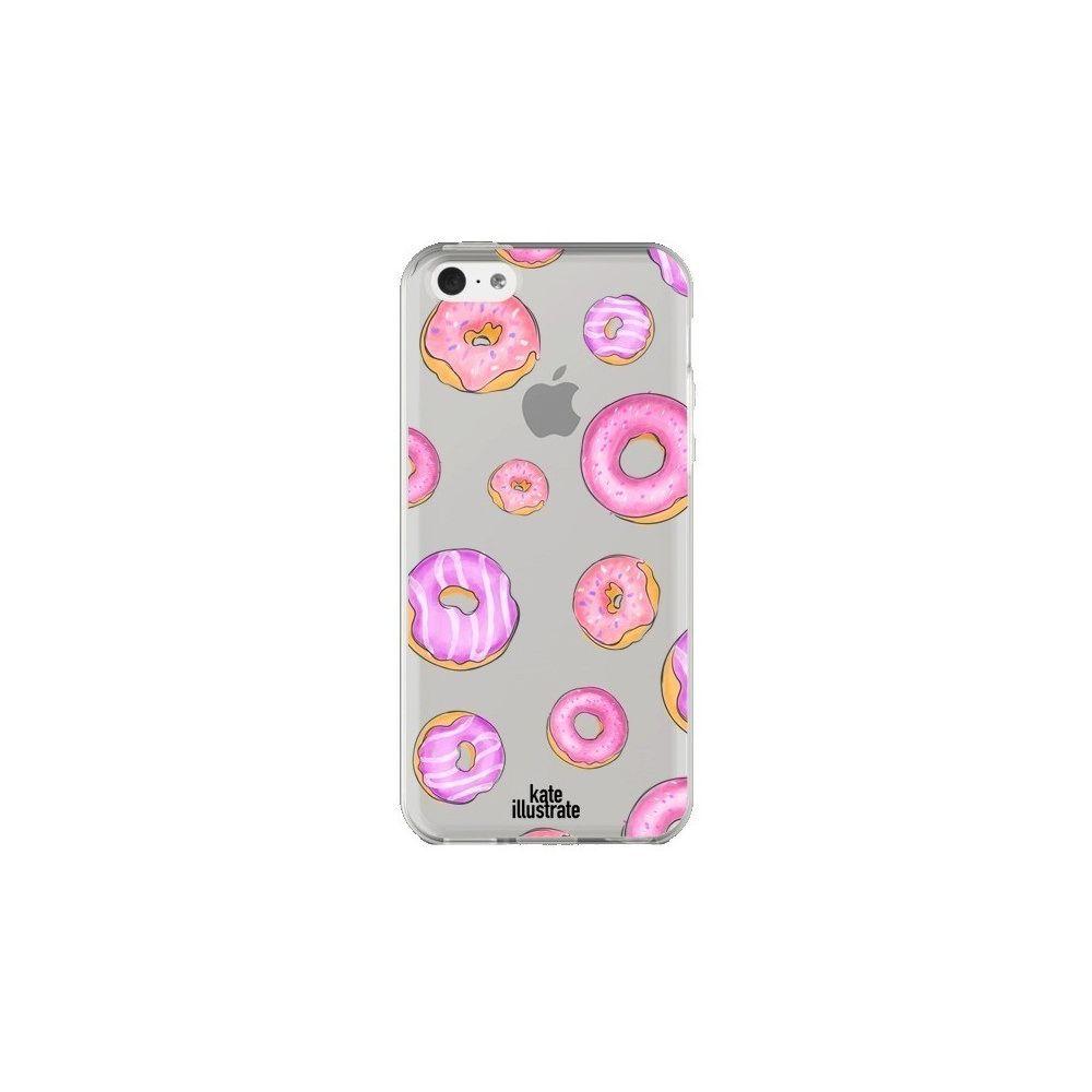 Apple - Coque iPhone 5C Pink Donuts Rose Transparente - kateillustrate