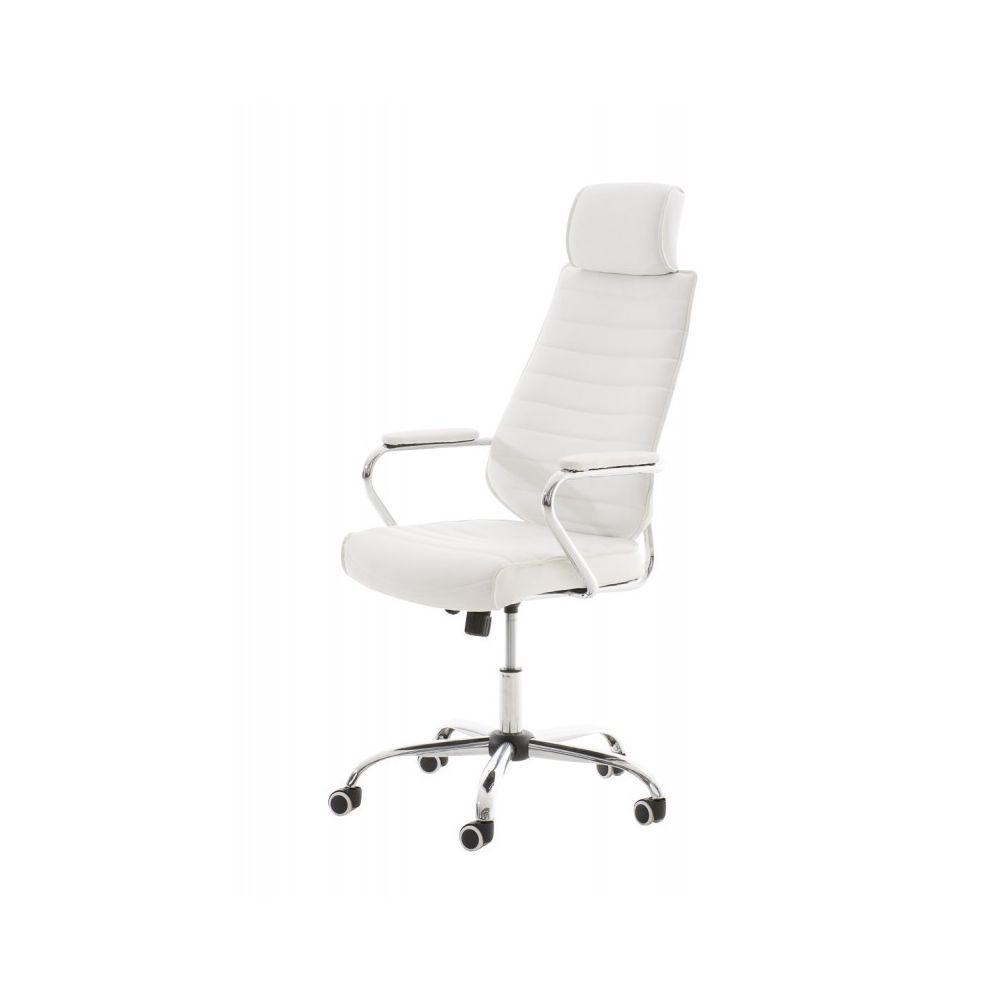 Decoshop26 Fauteuil de bureau à roulettes en simili-cuir blanc hauteur réglable BUR10002