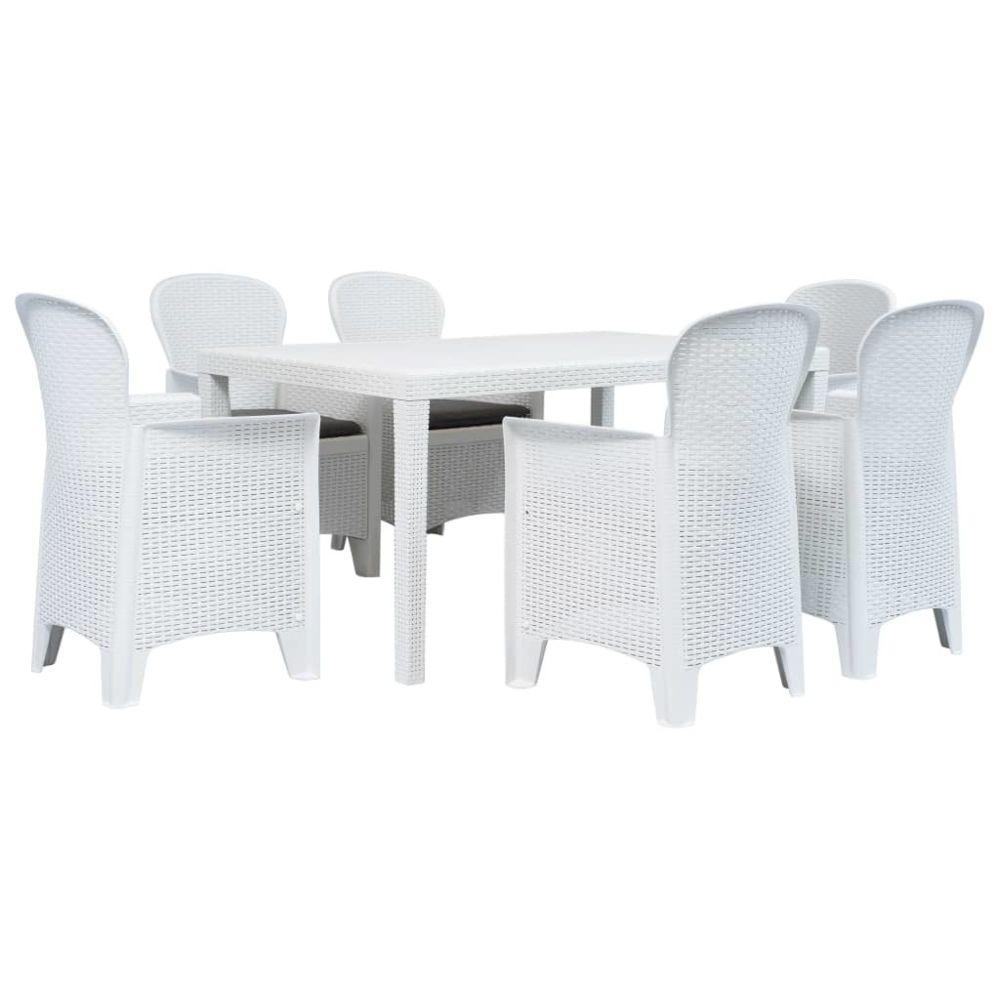Vidaxl vidaXL Meuble à dîner d'extérieur 7pcs Plastique Blanc Aspect de rotin