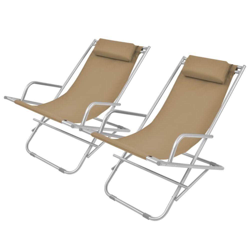 Uco UCO Chaises inclinables de terrasse 2 pcs Acier Taupe