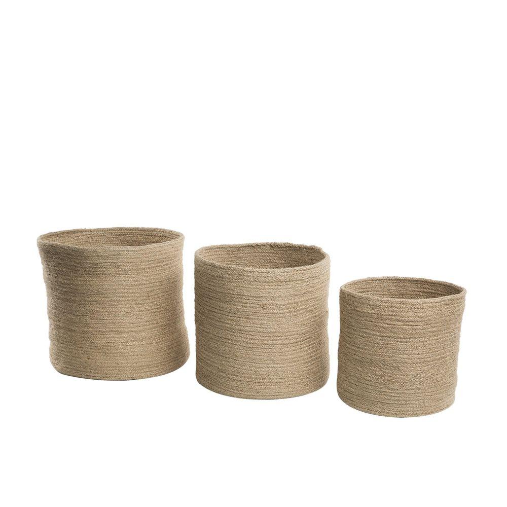 Beliani Lot de 3 corbeilles en textile beige ARTIGALA