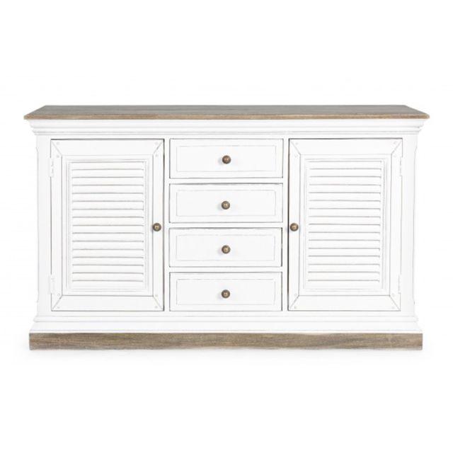 meuble avec 2 portes et 4 tiroirs coloris blanc dim l 140 x p 40 x h 85 cm