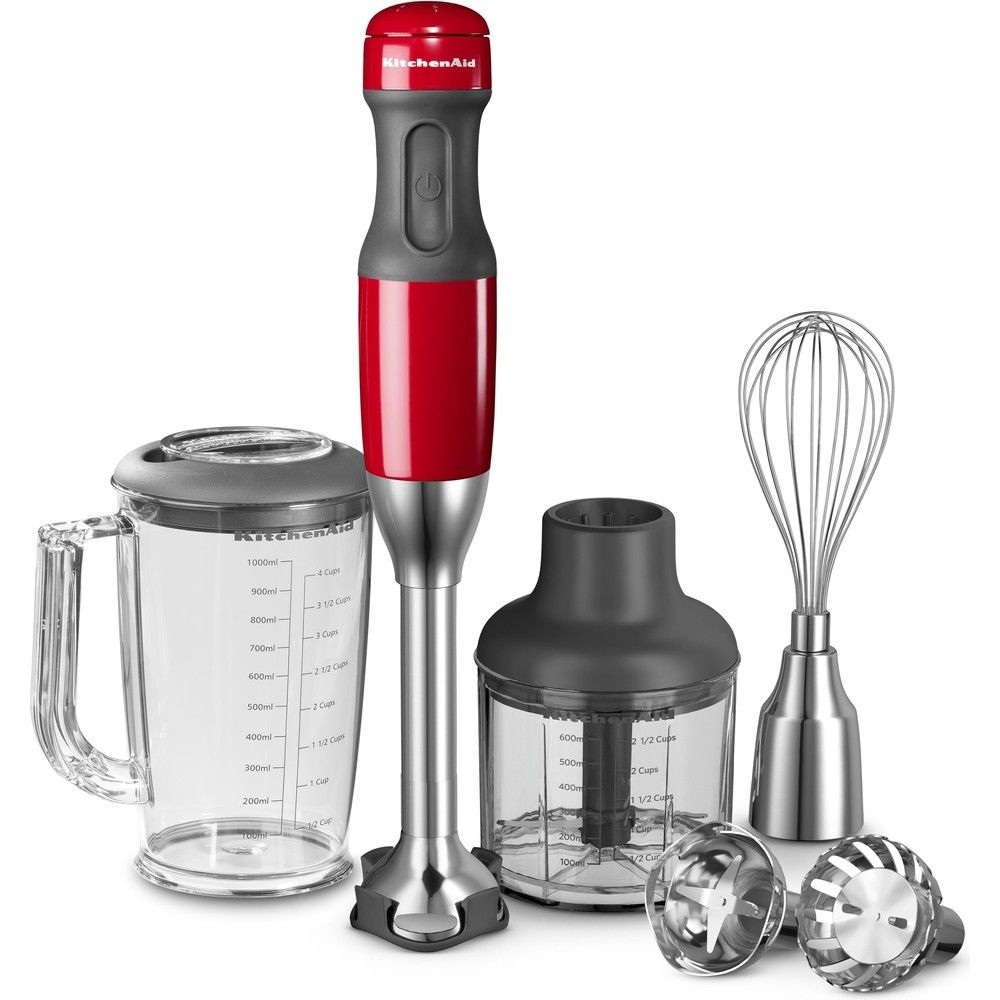Kitchenaid mixeur plongeant avec 5 vitesses 180W rouge empire argent