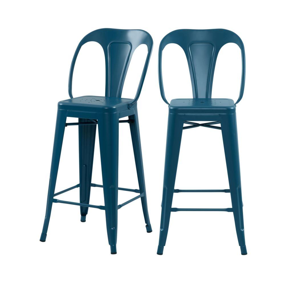 Rendez Vous Deco Chaise de bar mi-hauteur Indus bleu mat 66 cm (lot de 2)