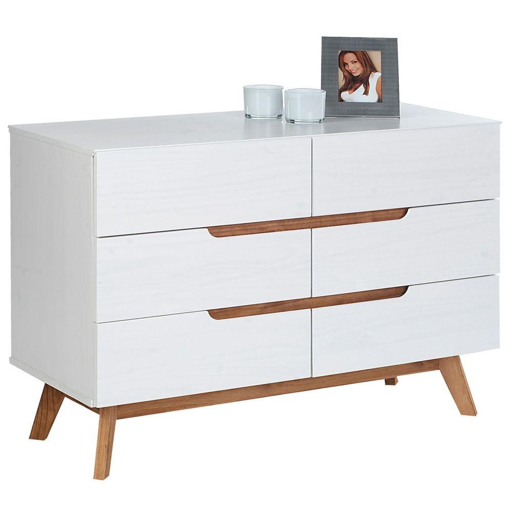 Idimex Commode TIBOR style scandinave design vintage nordique avec 6 tiroirs, en pin massif lasuré blanc