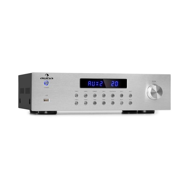 Auna - auna AV2-CD850BT Amplificateur stéréo 4 zones avec interface Bluetooth , port USB & radio FM - 5 x 80W RMS - Argent - Ampli