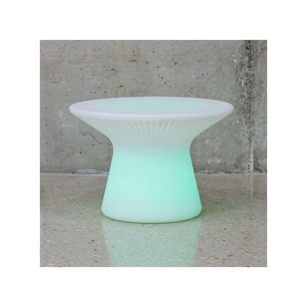 New Garden CAPRI-Table basse lumineuse LED d'extérieur RGB solaire rechargeable H39cm Ø58cm Blanc New Garden