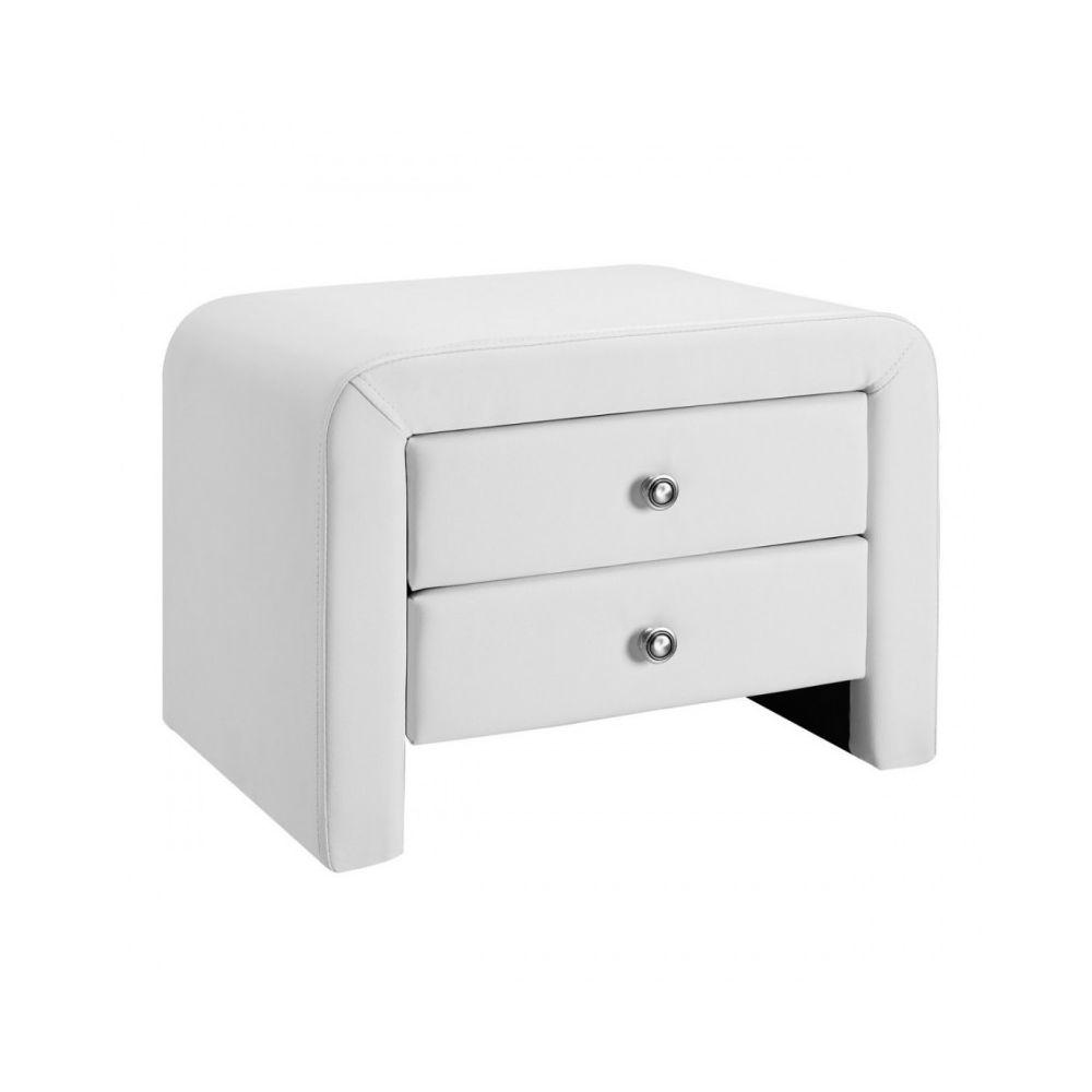 Meubler Design Table chevet design en simili cuir Eva - Blanc
