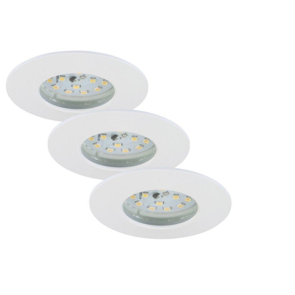 Briloner Leuchten Set 3 Spot LED Encastrable Fixe BRILONER Module 5,5W 470 Lumens dimmable Ip44 Clii Blanc