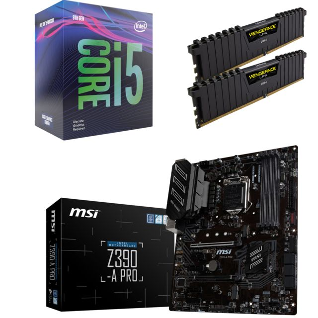 Intel - Core i5-9600KF - 3.7/4.6GHz + Vengeance LPX 16 Go (2 x 8 Go) - DDR4 3200 MHz Cas 16  + Intel Z390 PRO - ATX - Kit d'évolution Intel