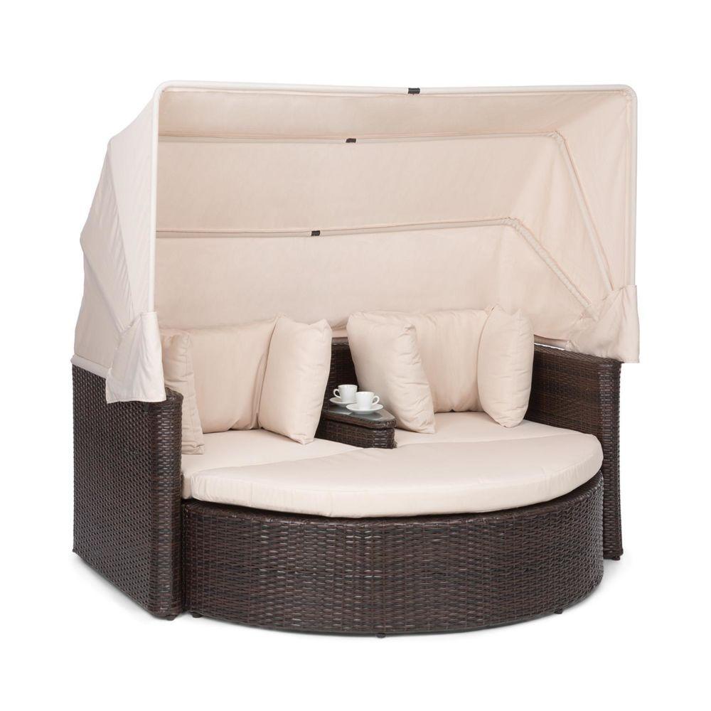 Blumfeldt Blumfeldt Heartland Canapé lounge de jardin 2 places avec tabouret , table & parasol pliable , charge 160kg - Polyrotin