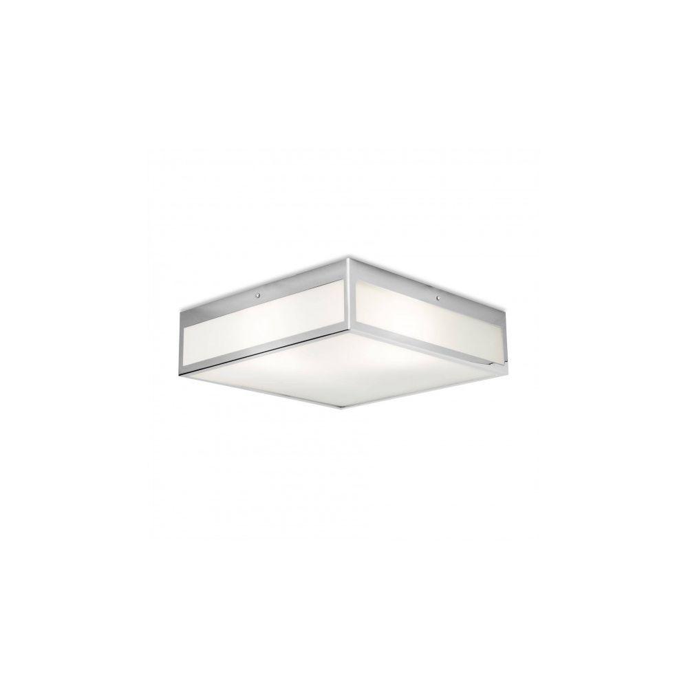 Leds C4 Plafonnier Flow, chrome et verre, carré 40 cm