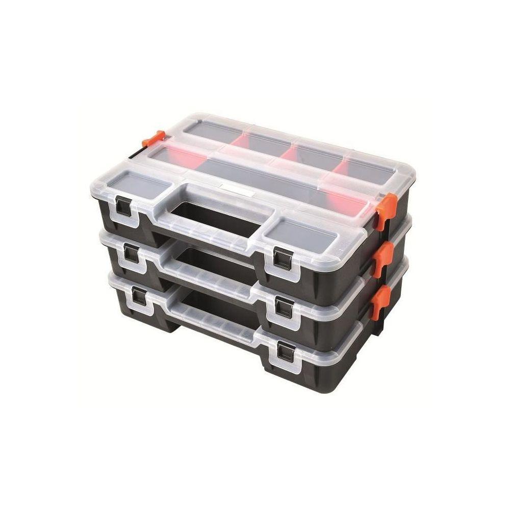 Tood TOOD Lot de 3 mallettes clipsables / organiseurs en plastique 31,5x22,5x19,8 cm