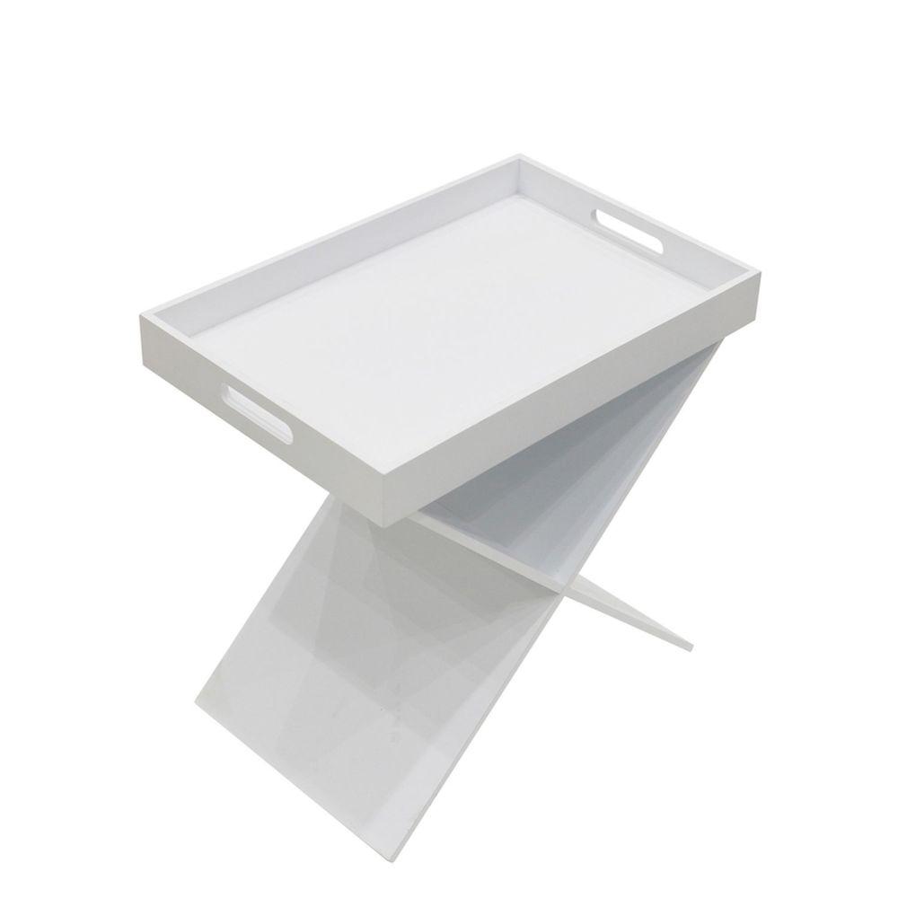 The Home Deco Factory Table d'appoint design Géométique - L. 46 x H. 48 cm - Blanc