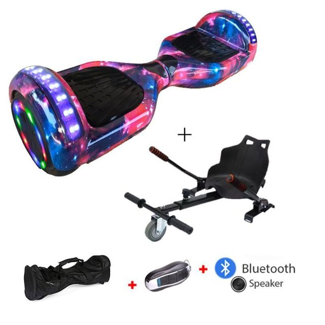 Mac Wheel - 6,5 pouces ciel rouge Gyropod Overboard Hoverboard Smart Scooter + Bluetooth + clé à distance + sac + Roue LED + hoverkart - Gyropode, Hoverboard