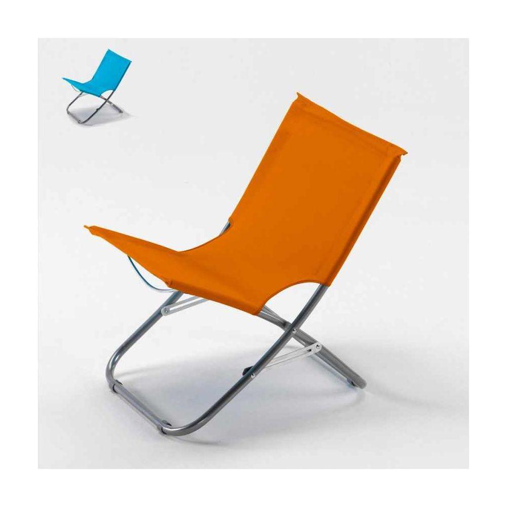 Beach And Garden Design Chaise de plage transat pliante fauteuil piscine acier Rodeo, Couleur: Orange