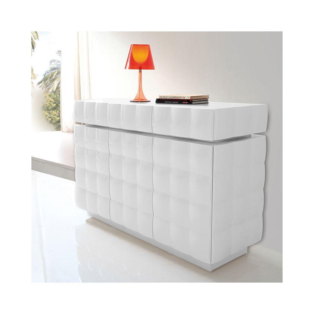 Nouvomeuble Buffet design blanc laqué SIDNEY