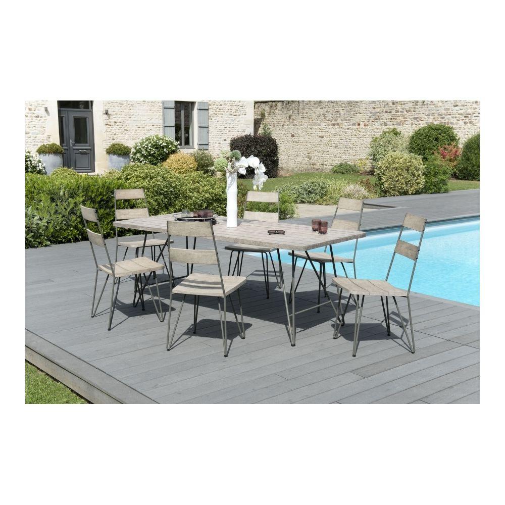 MACABANE Salon de jardin en teck teinté, comprenant 1 table à manger pieds scandi et 3 lots de 2 chaises sandi bois et métal - MA
