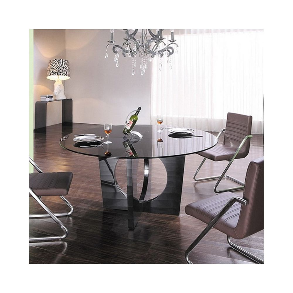 Meubler Design Table à manger ronde en verre Madisson