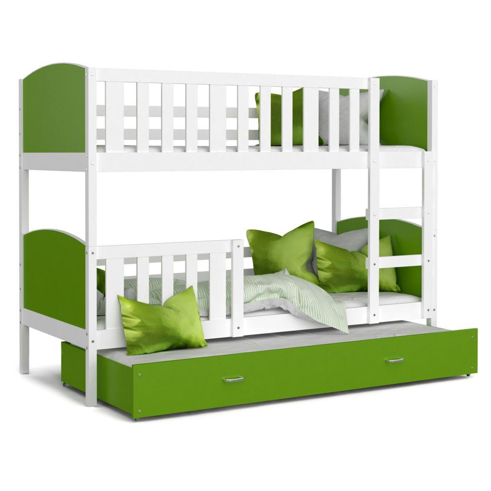 Kids Literie Lit superpose 3 places Tomy 90x190 blanc vert livré avec tiroir,3 sommiers et 3 matelas en mousse de 7cm offerts