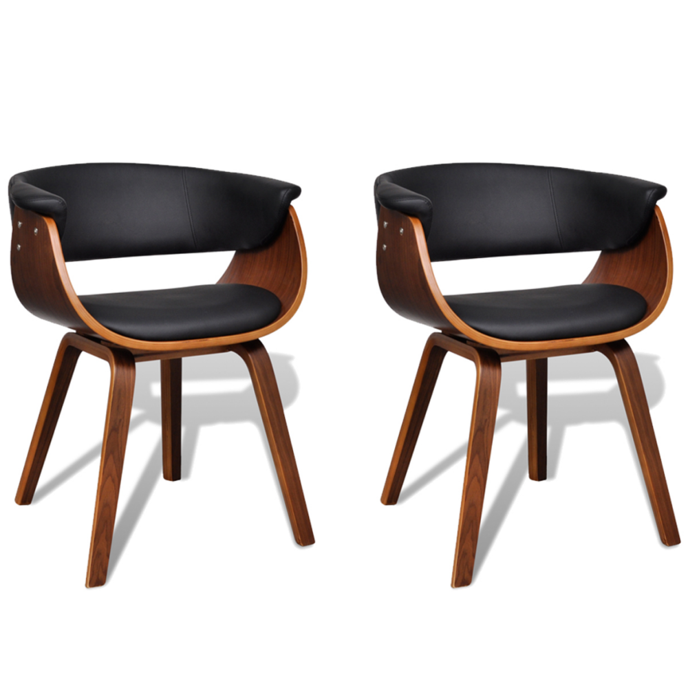 Helloshop26 2 Chaises de cuisine salon salle à manger design noir bois 1902045