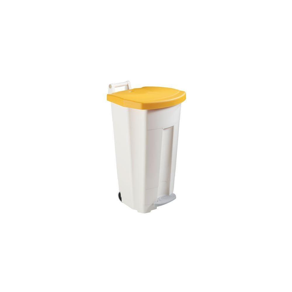 Rossignol Poubelle 90 litres Rossignol tri sélectif rectangle à pédale jaune