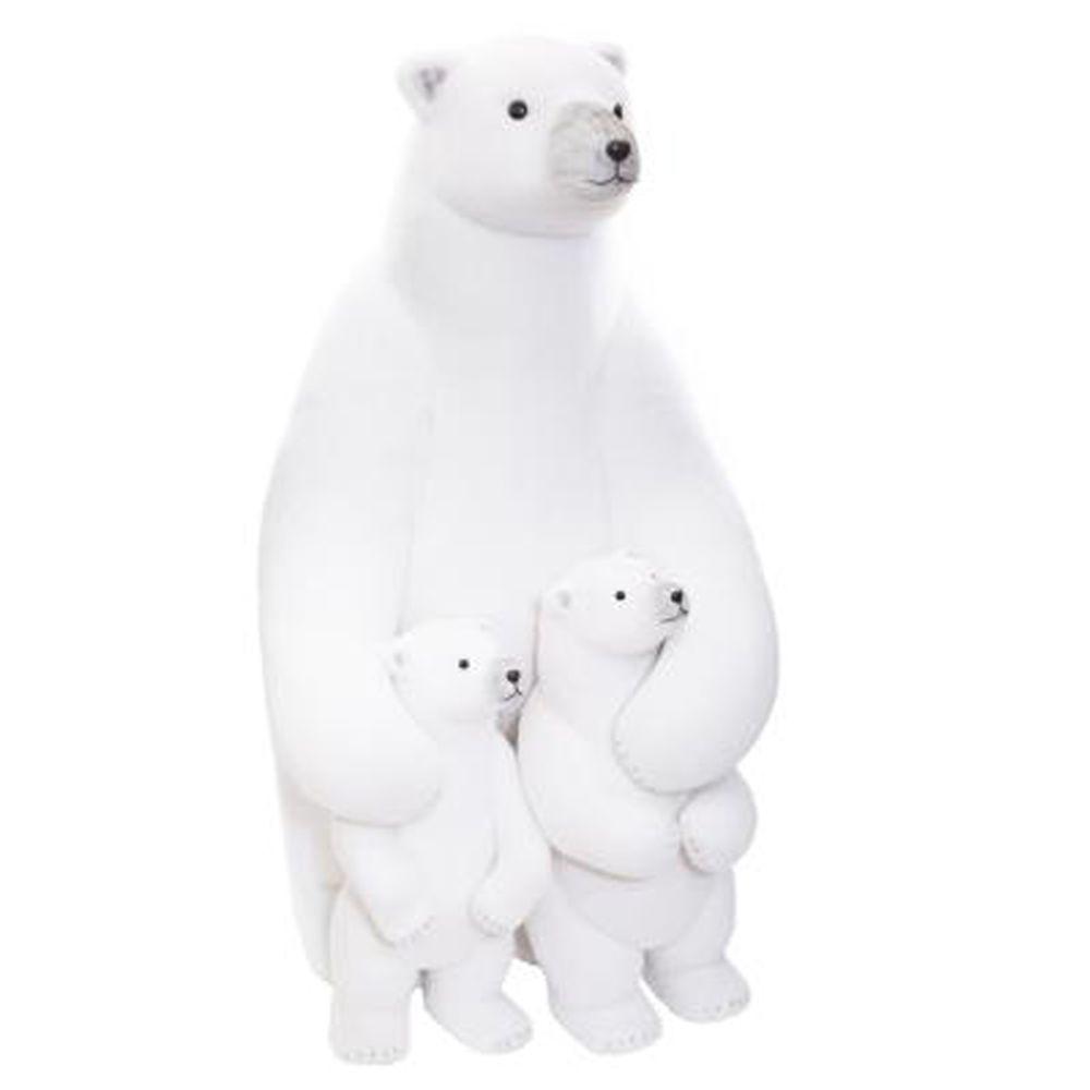 Pegane Ours de noël géant + 2 bébés, blanc - L.95 x l.60 x H.65 cm -PEGANE-