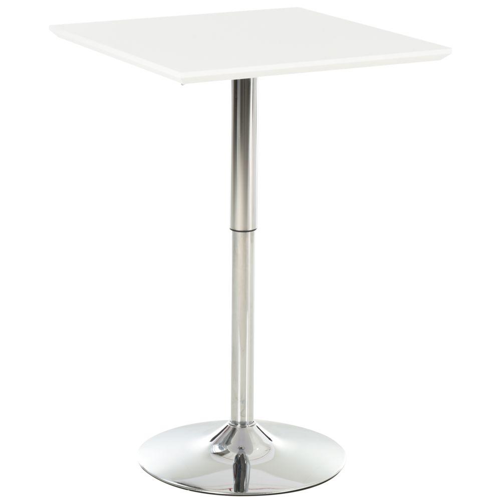 Homcom Table de bar table bistro chic style contemporain table carrée hauteur réglable dim. 60L x 60l x 71-92H cm métal chromé