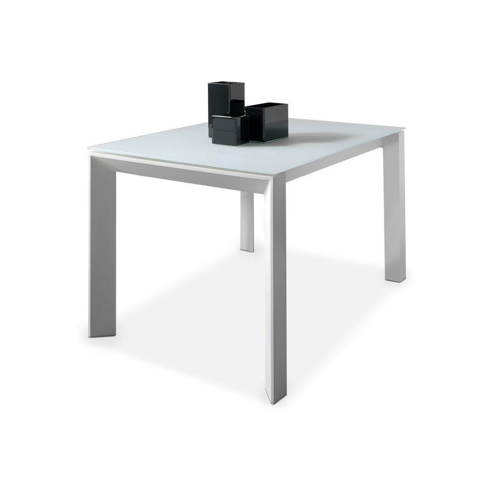 Tousmesmeubles Table de repas à allonge plateau verre blanc mat - MISTA