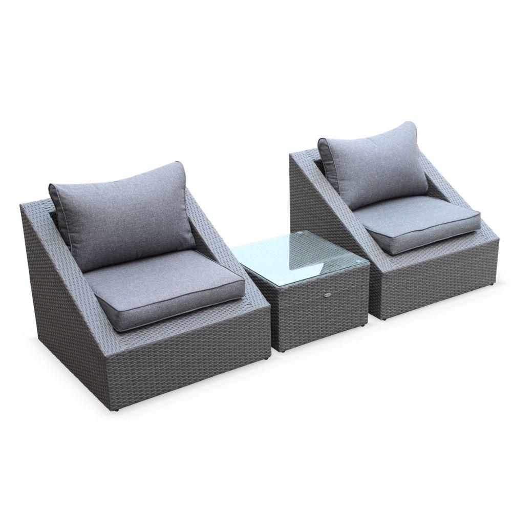 Alice'S Garden Salon de jardin 2 places - Triangolo - résine tressée grise, coussins gris, fauteuils + 1 table basse, empilables