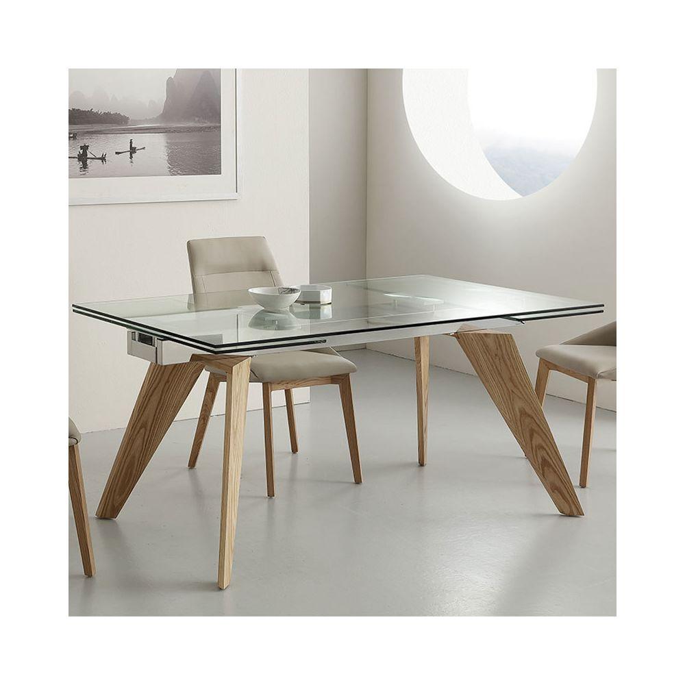 Nouvomeuble Table en verre et bois avec rallonge design VELIA