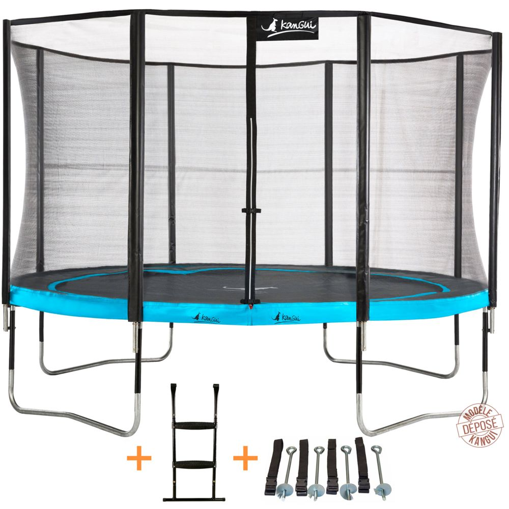 Kangui Kangui - Trampoline de jardin 365 cm + filet de sécurité + échelle + kit d'ancrage PUNCHI Bleu 360