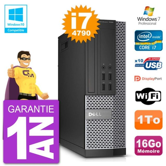 Dell - PC Dell 7020 SFF Intel i7-4790 RAM 16Go Disque 1To Graveur DVD Wifi W7 - PC Fixe Pc tour