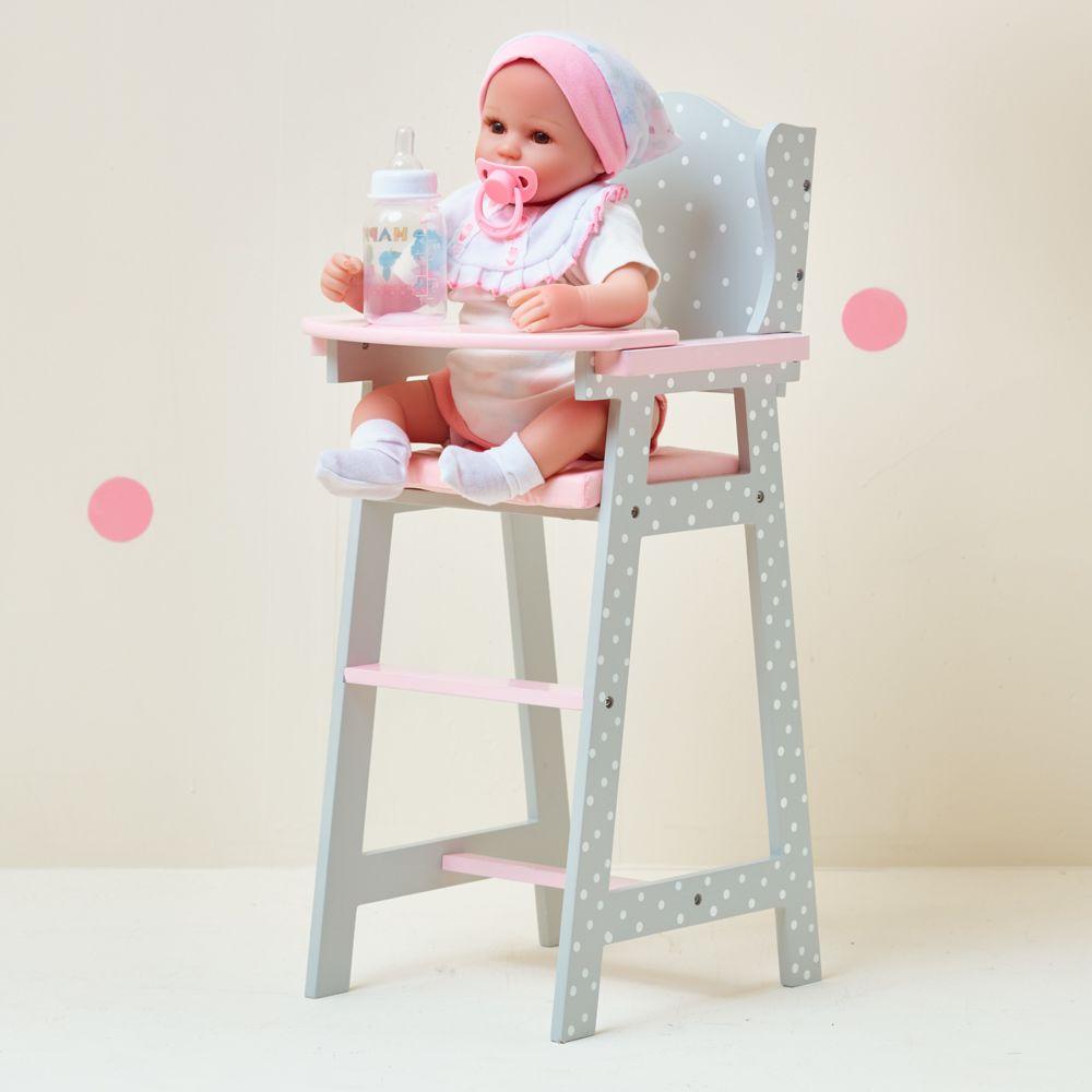 Olivia'S Little World Chaise haute poupon poupée Polka Dots Princess mobilier en bois jeux TD-0098AG