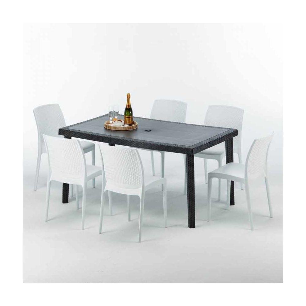 Grand Soleil Table rectangulaire et 6 chaises Poly rotin colorées 150x90cm noir Enjoy, Chaises Modèle: Boheme Blanc